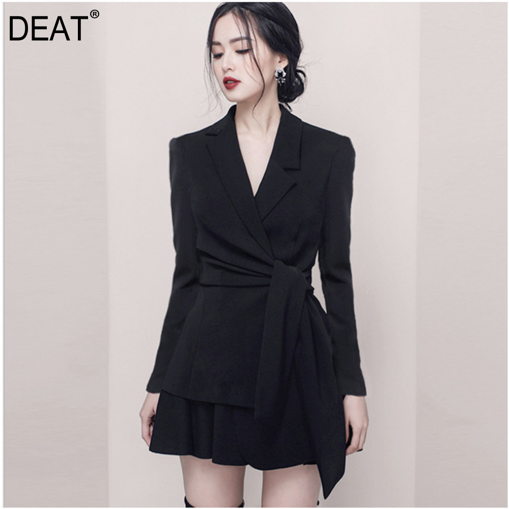 DEAT 2019 new spring and summer fashion women Office Lady dress notched high waist sexy female