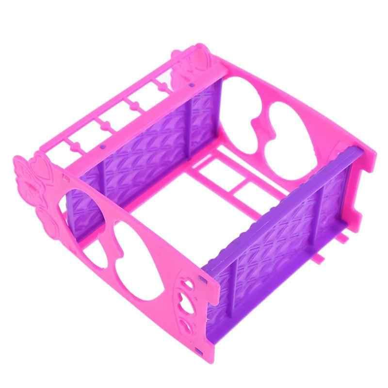 7pcs ตุ๊กตาน่ารักเฟอร์นิเจอร์พลาสติกเตียงของเล่นของขวัญตุ๊กตา House Bed แกล้งของเล่นสำหรับเด็ก