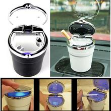 цена на Luxury Car Ashtray with LED Light Cigarette Smoke Travel Remover Ash Cylinder Car Smokeless Smoke Cup Holder Auto Accessories