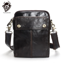 TAUREN Flap New Cheap Genuine Leather Vintage Casual Bag Mens Shoulder Small Messenger Travel Bags For Mobile Phone