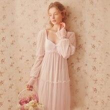 나이트 가운 여성 봄 여름 긴 드레스 레이스 여성 요정 긴 소매 잠옷 섹시한 잠옷 우아한 숙녀