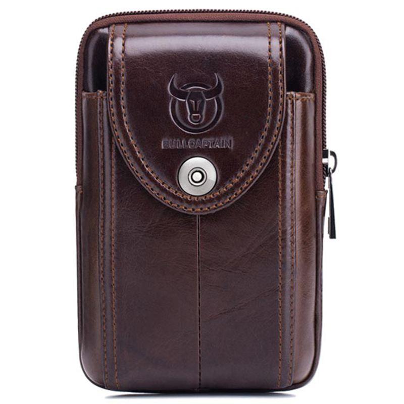 BULLCAPTAIN Men's Leather Belt Waist Bag Fanny Pack Molle Small Money Phone Waist Pack Bum Pouch Purse