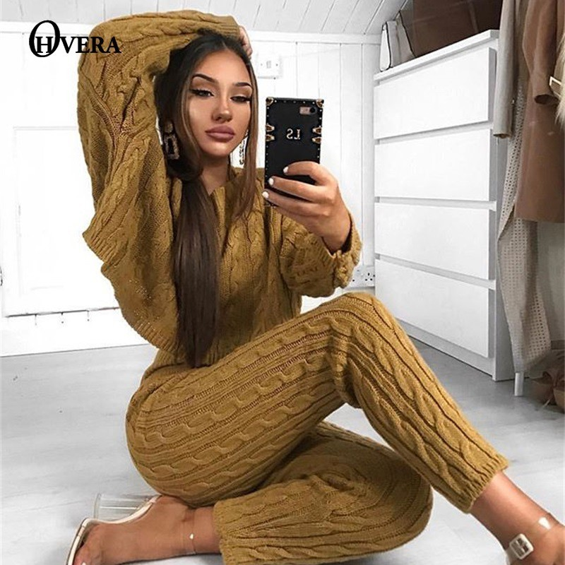 Ohvera 2018 Winter Sweater Two Piece Set Knitted Lengthy Sleeve Crop Tops And Lengthy Pants Horny 2 Piece Set Ladies Outfits