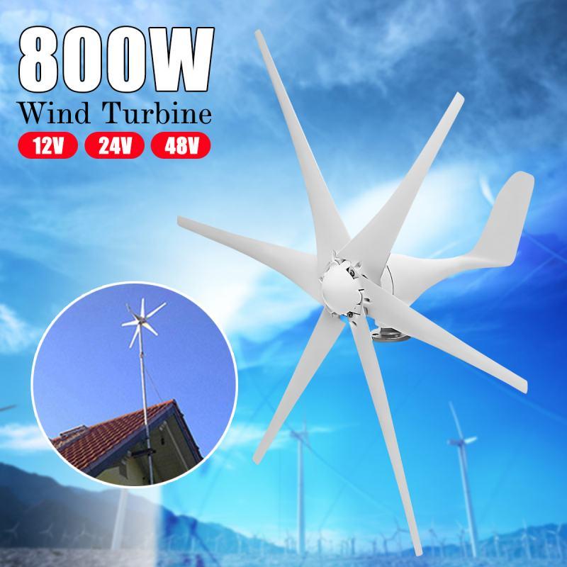 800 W 12 V 24 V 48 Volts 6 Nylon fibre Lame Home Horizontal Éoliennes Vent Puissance Du Générateur Moulin À Vent turbines d'énergie Charge