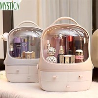 Hot Home Desktop Makeup Storage Box Brush Holder Jewelry Organizer Case Multi functional Plastic Drawer Cosmetic Organizer Rack