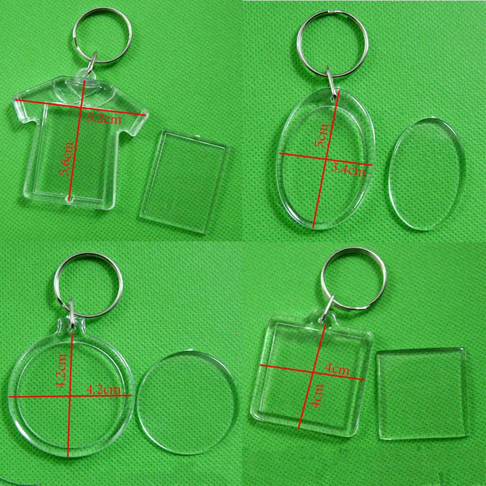 Прямоугольное, прозрачное акриловое кольцо для фотографий, брелок для ключей DIY, брелок для ключей, подарочный