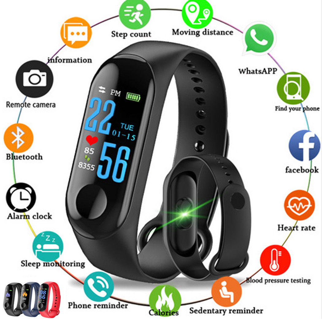 Watch-Fitness-Tracker Smart-Wearable-Device Bluetooth M3 HD With Vibrating Reminder Color-Screen