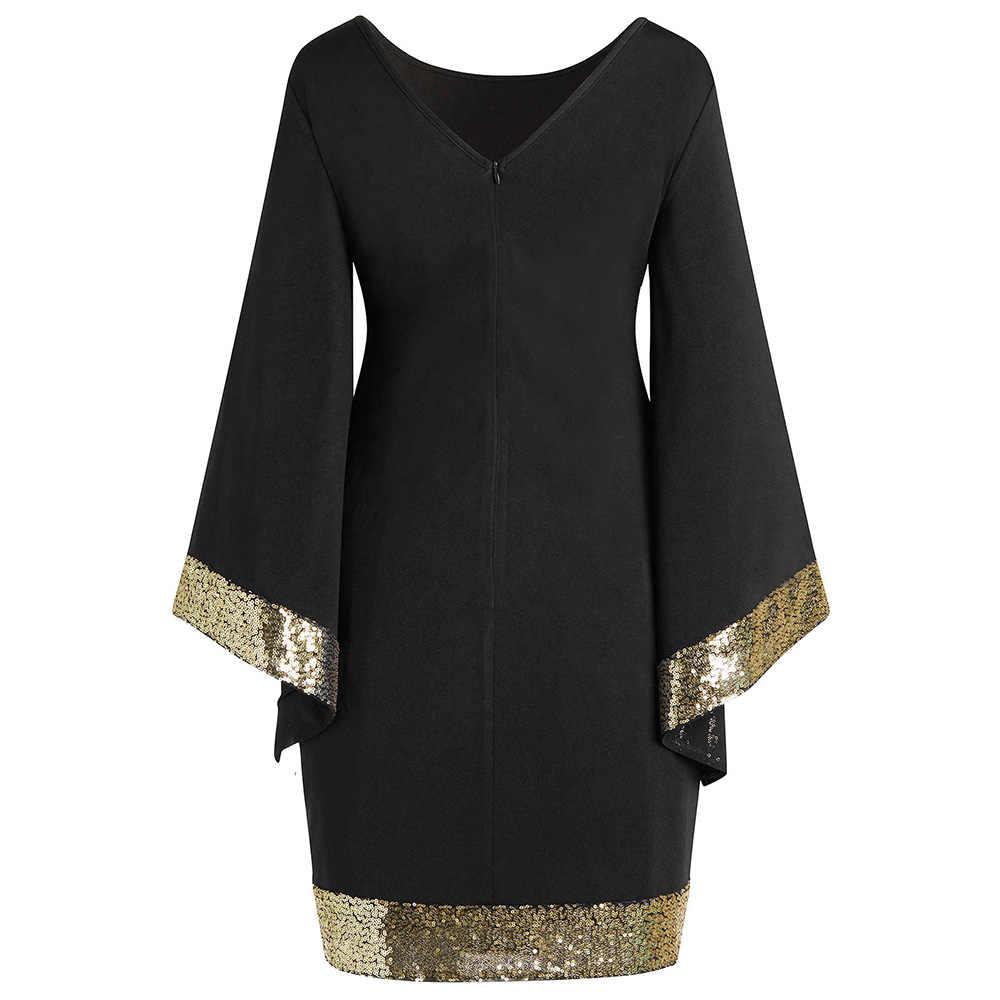 Lortalen/Большие размеры 5XL-L, элегантные вечерние платья с расклешенными рукавами и блестками, женские черные обтягивающий для ночного клуба мини-короткое платье большого размера