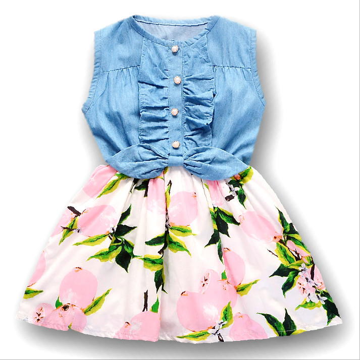 2018 New Cowboy Lemon Dress Girl Baptism New Lovely Girl Dress Party Princess 2 To 7 Year Old Dress Party Dress Non-Ironing