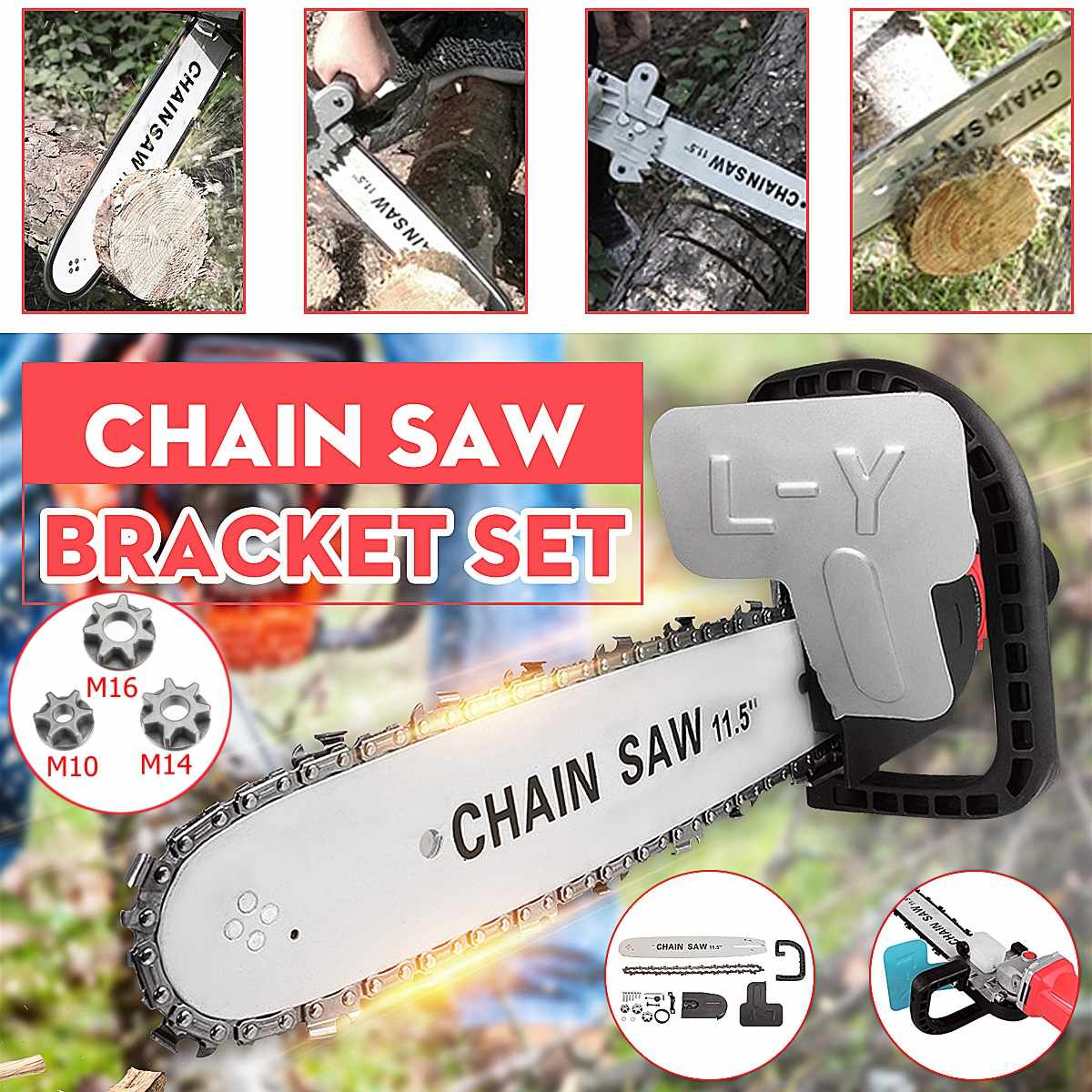 Electric chainsaw converter universal 100/125/150 angle grinder electric chain saw automatic refueling with M10/M14/M16 sprocke
