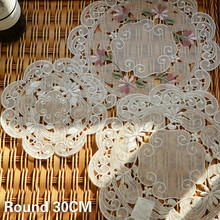Luxury Cotton Linen Lace Round Table Placemat Floral Embroidery Hollow Out Coffee Mug Coaster Christmas Wedding Decorative Pad