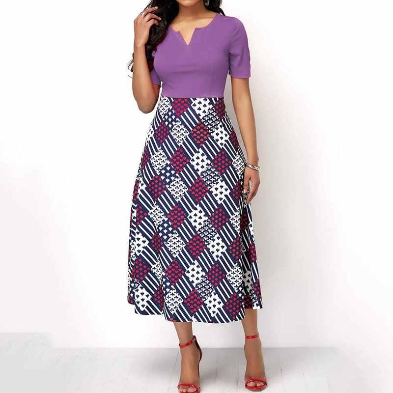 Плед печати Элегантный Африканский плюс размеры платье для женщин Фиолетовый Модные летние Винтаж трапециевидной формы пикантные сини