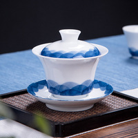 Chinese Kung Fu Tea Set Blue and White Gaiwan Teapot Teacups Tea Sets Porcelain Teaware Drinkware