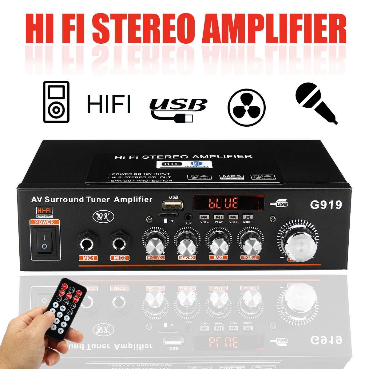 12V/220V 360W Car Amplificador Audio Bluetooth Stereo Power Amplifier FM Radio 2