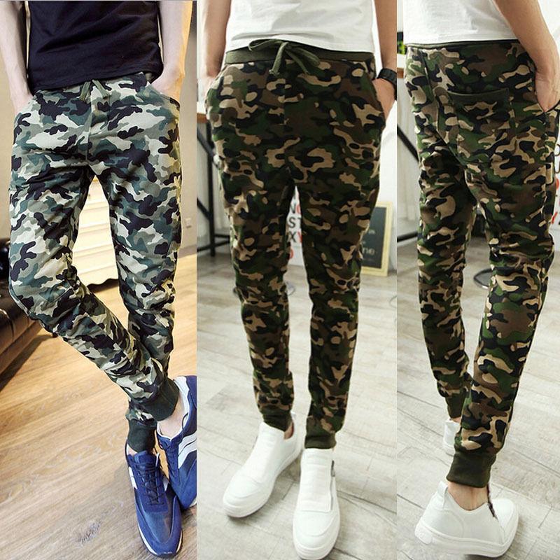 Men Pants Trousers Casual Slim Taper Pencil Long Pants Army Green Men Camo Pants