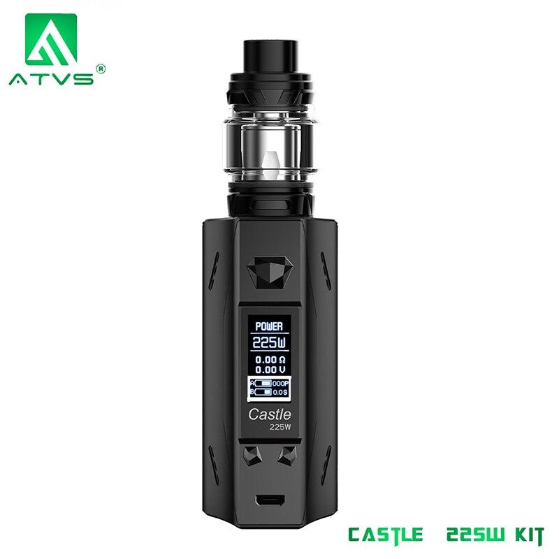 ATVS Castle 225W E Cigarette Vape Mod Kit TC Bypass Box Mod 0.96 OLED Screen No Dual 18650 Battery 5ml SR-11 Mini Tank Mesh Coil