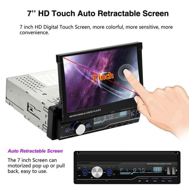 1 DIN Car Radio MP5 Player Stereo Retractable Screen GPS Navigation Bluetooth Auto Radio Touch Screen Auto Radio Hands-free Call