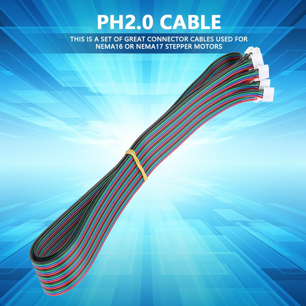 5 Pcs PH2.0-XH2.54 Female-Female Connector Cable Stepper Motor Cable Connector Cable 3D Printer Cable 1M