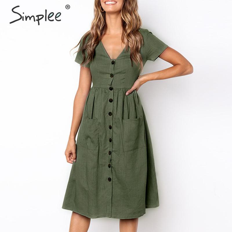 Simplee одноцветное женское белое платье с v-образным вырезом на элегантных кнопках с карманами женское летнее платье с коротким рукавом Дамы м...