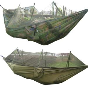 Image 3 - Camping Hammock Mosquito Net Portable Outdoor Garden Travel Swing Canvas Stripe Hang Bed Hammock 260*130cm