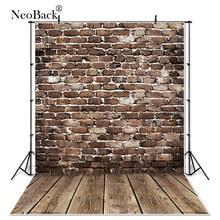 NeoBack Vinyl Vintage ciemne brązowe ściana z cegły drewno noworodka fotografia tło dzieci dzieci Photophone Studio tło do zdjęć