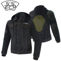 Motorcycle Jacket Spring Summer Men Moto Motocross Jean Jackets Outerwear With Protectors Casual Wear Denim Clothing Windproof