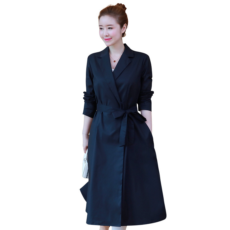 New Arrival 2018Spring Fashion Ladies long   trench   coat Turn down collar waist belt female cultivating casual outwear XL-XXXXXL