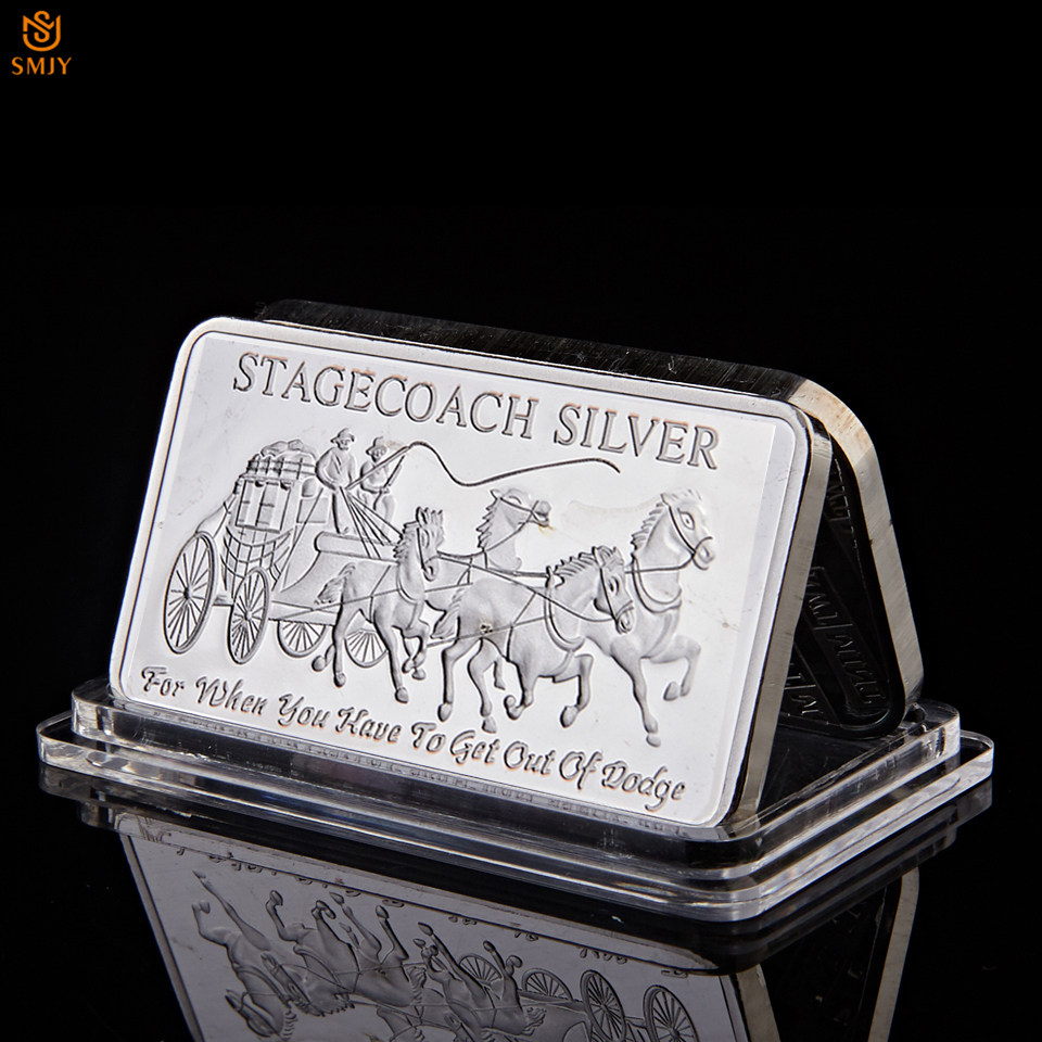 Northwest Region Fine Stagecoach 1/4 Ounce 999 Silver Territorial Mint Replica Metal Divisible Bar|Non-currency Coins|   - AliExpress