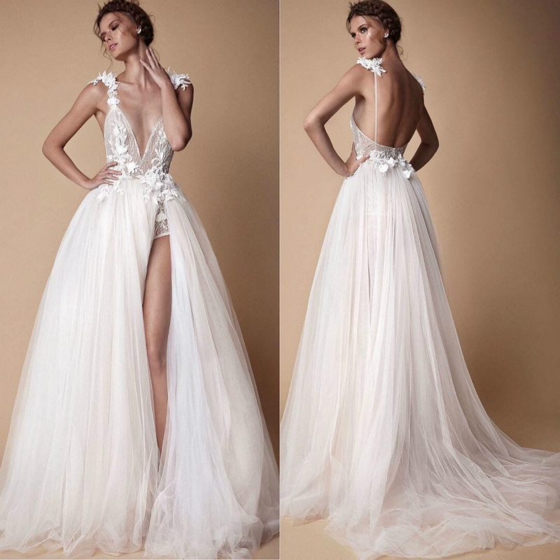 SSYFashion New White Lace   Evening     Dress   Sexy Deep V-neck Backless Lllusion Appliques Long Formal Prom Gown Vestido De Noiva