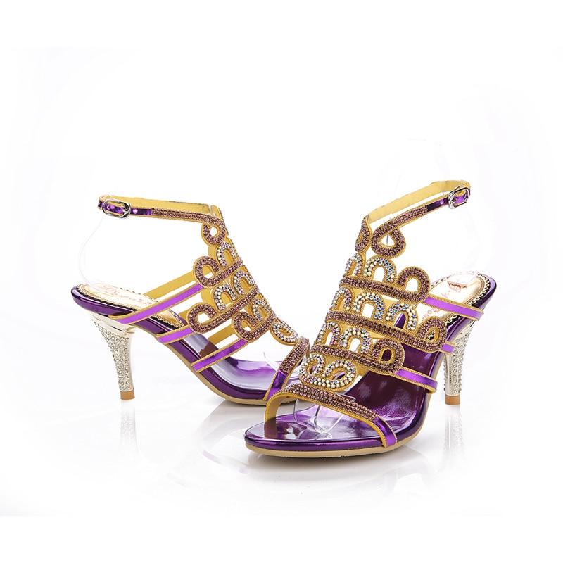 Cristallo Gold Sandalo Femminili Sposa out purple Estate 8cm Da Cut Alto Sandali Oro Venditore Scarpe All'ingrosso Heels Heels Viola Commercio Tacco Fabbrica Di Prezzi Modo qTTfRv