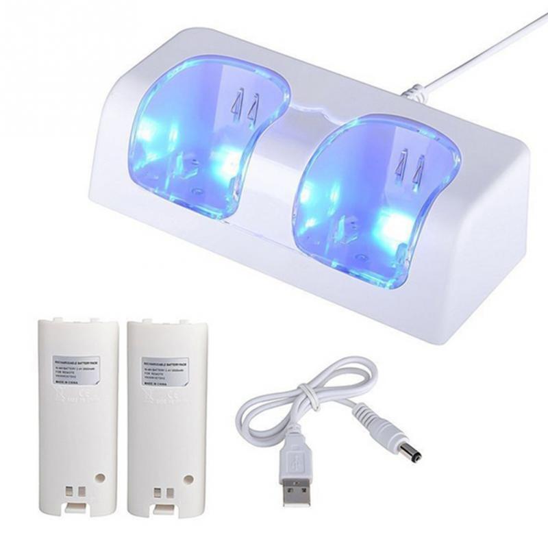 Remoto Controlador de Carregamento Duplo Dock Station + 2x2800 mAh Battery Pack para Nintendo Wii gamepad carregador com LED luz #1004