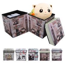Caja de almacenamiento de impresión Vintage para el hogar taburete plegable de tela no tejida para reposapiés estante de almacenamiento