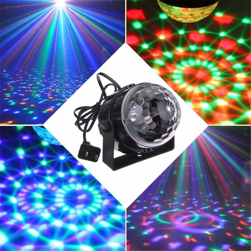 MINI Control de voz RGB LED Stage lámparas cristal bola mágica de Control de sonido etapa efecto luz Home Party Disco Club DJ luces