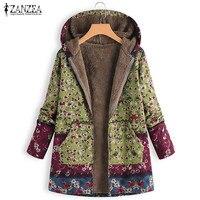 2018 ZANZEA Winter Women Patchwork Coat Jacket Vintage Floral Print Hooded Outwear Female Long Sleeve Zipper Cardigan Casaco 5XL