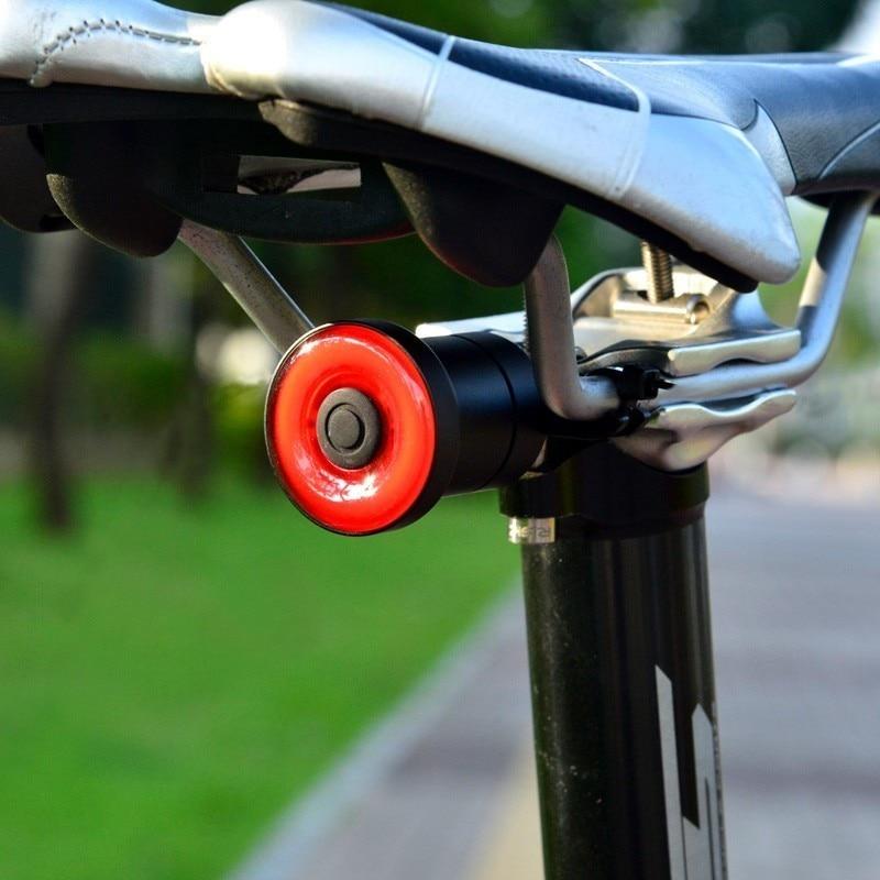 Bike Bicycle Smart Brake Light Sense Flashlight USB Saddle Tail Light Waterproof