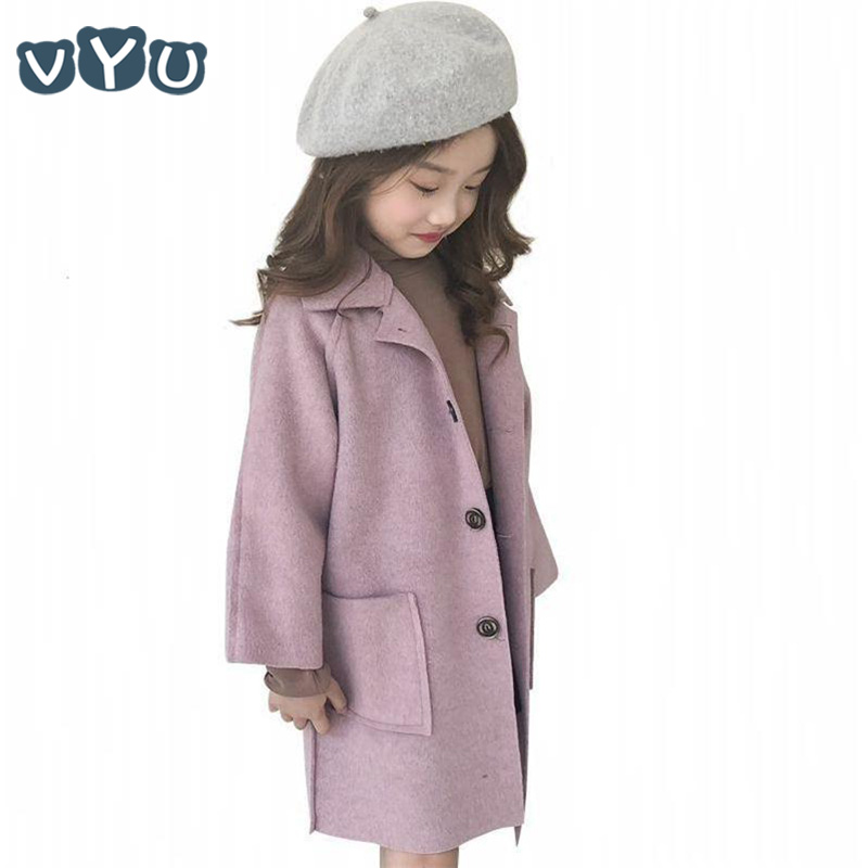 Kids Girls Jacket Thicken Woolen Long Sleeve Coat Korean Style Solid Color Button Coat Children Girls Clothes 6~10Yrs