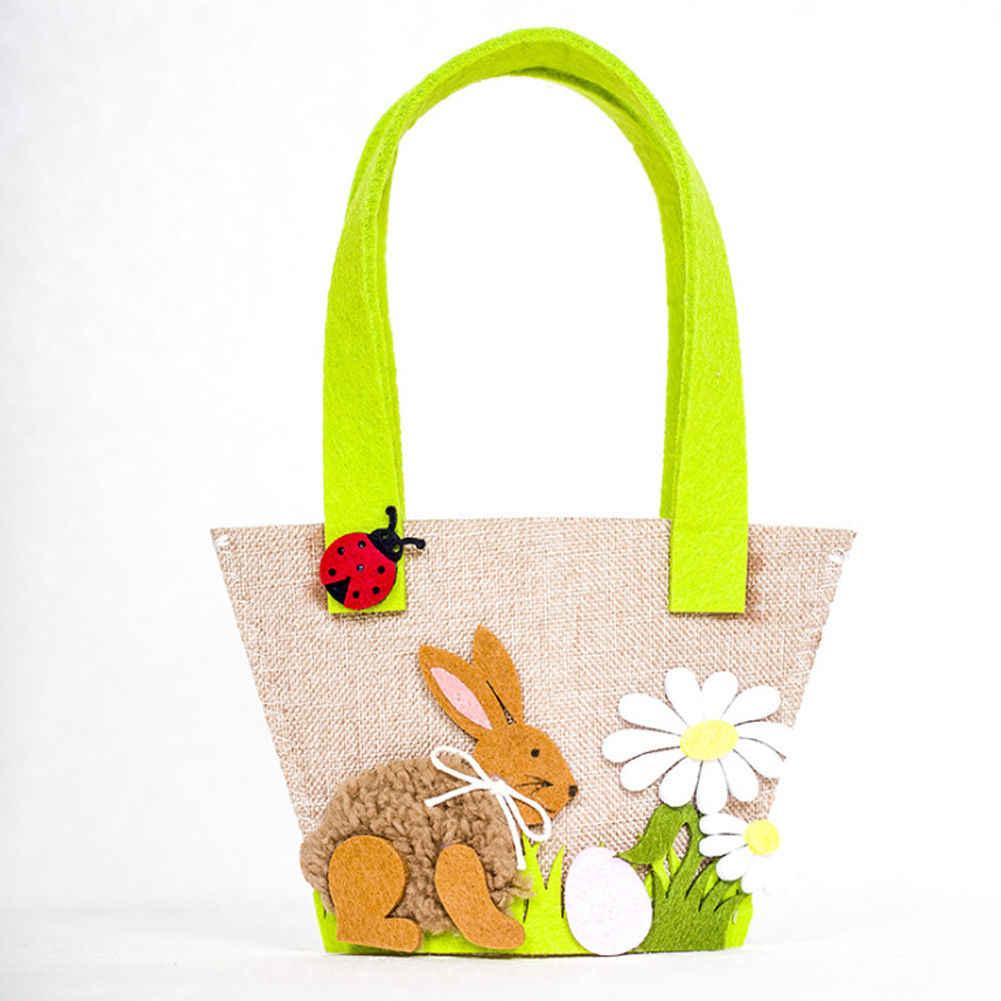 2019 el más nuevo conejito de Pascua bolso canasto yute arpillera chico bebé niña Niño de Pascua cubo bolsa de regalo festivo bolsa de fiesta envío de la gota