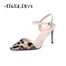 AIKELINYU Fashionable Elegant Leopard-print Womens Sandals Toe High Quality Cow Leather Office Shoes Party Hot Sale Women Pumps