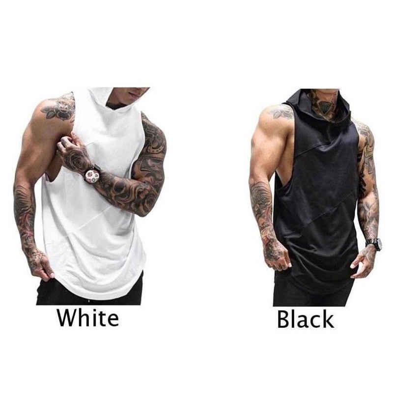 Hirigin men muscle hoodie 후드 티 탱크 탑스 보디 빌딩 체육관 운동 민소매 슬림 티 고딕 솔리드 티셔츠 여름