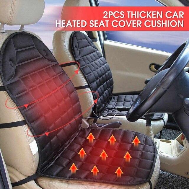 Audew 2pcs Auto 12v 35w Heater Fiber Electric Car Heated Seat Cushion Cover Heating Warmer Mage Pad Winter Supplies
