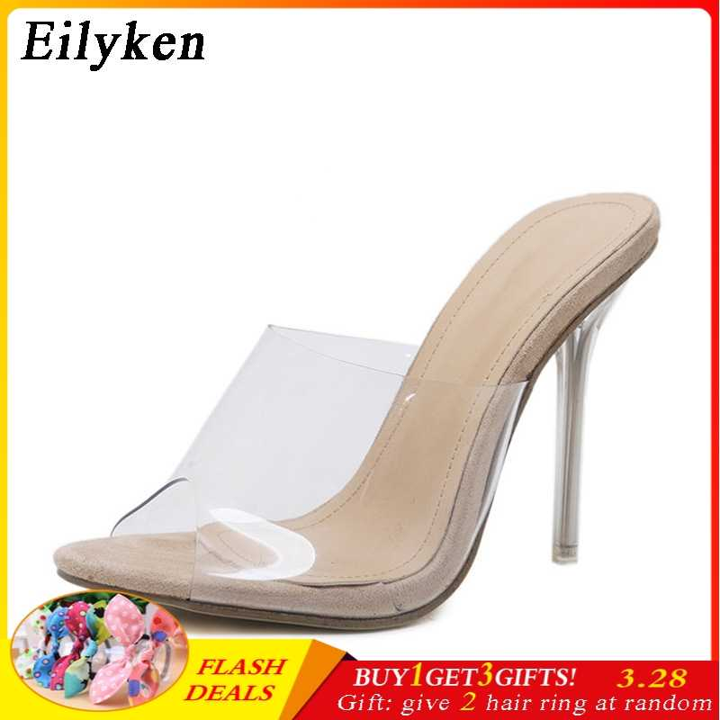 2e7c2cb12ec Eilyken 2019 New PVC Jelly Sandals Crystal Open Toed Sexy Thin Heels  Crystal Women Transparent Heel Sandals Slippers Pumps