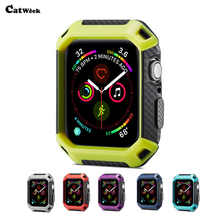 купить For Apple Watch 4 40MM 44MM Slim 2 in 1 TPU PC Watch Armor Frame 360 Full Cover Cases For Iwatch 4 Applewatch 4s Shockproof Skin дешево