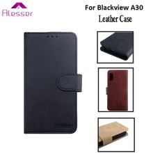 Alesser For Blackview A30 PU Leather Case Flip Wallet Case With Card Pocket For Blackview A30 Phone Cover Coque +Silicone Case(China)