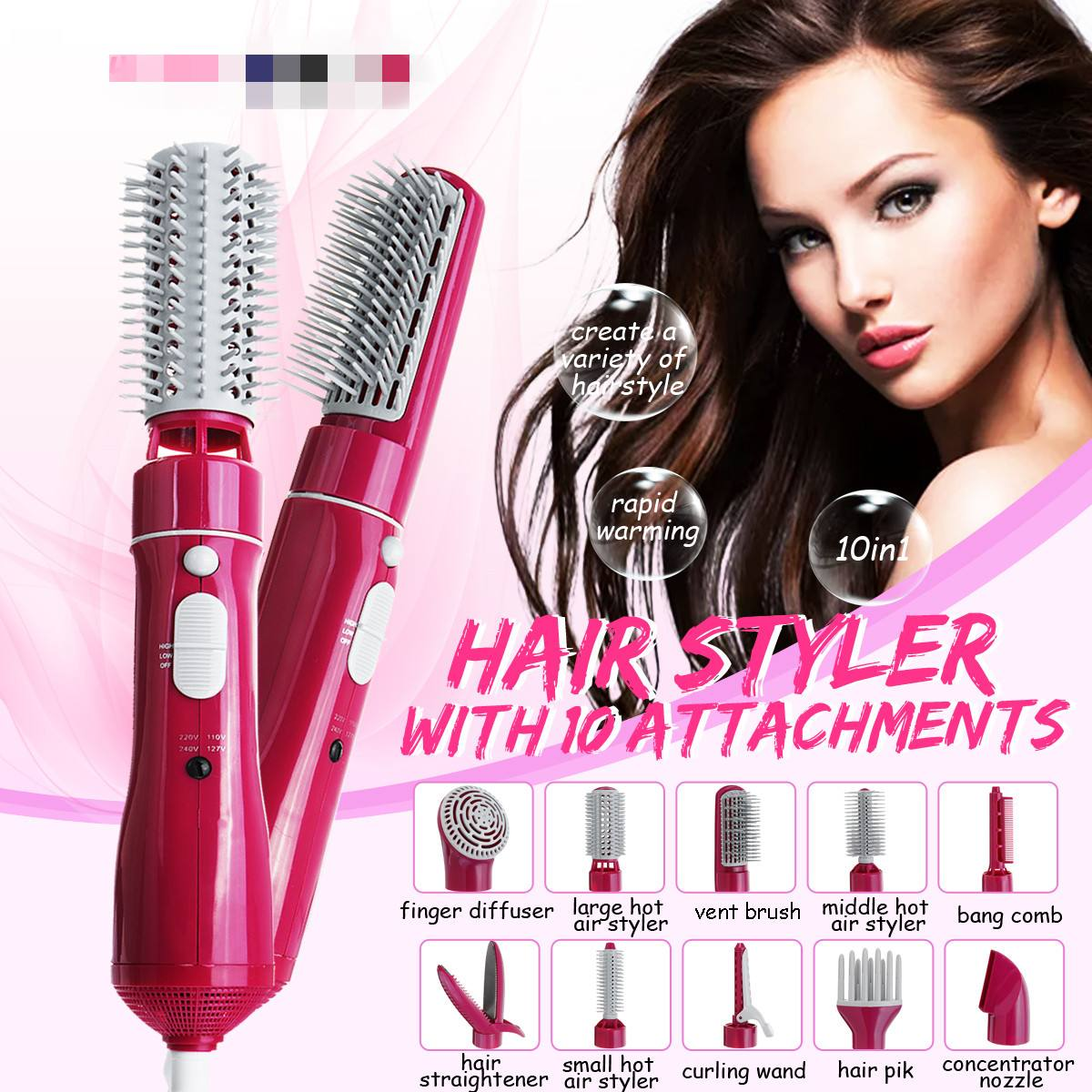10in1 Electric Hair Dryer Blow Curler Set 110-220V With Combs Brushes Curler Multifunctional Salon Hair Styling Tool EU Plug10in1 Electric Hair Dryer Blow Curler Set 110-220V With Combs Brushes Curler Multifunctional Salon Hair Styling Tool EU Plug