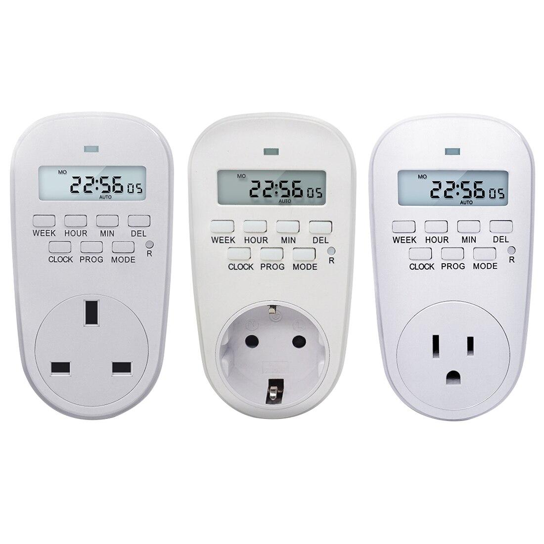 230 VAdjustable Programável Configuração do Relógio/Tempo On/Off Digital Interruptor Do Temporizador de Poupança de Energia Inteligente Soquete De Energia DA UE /EUA/REINO UNIDO Plug
