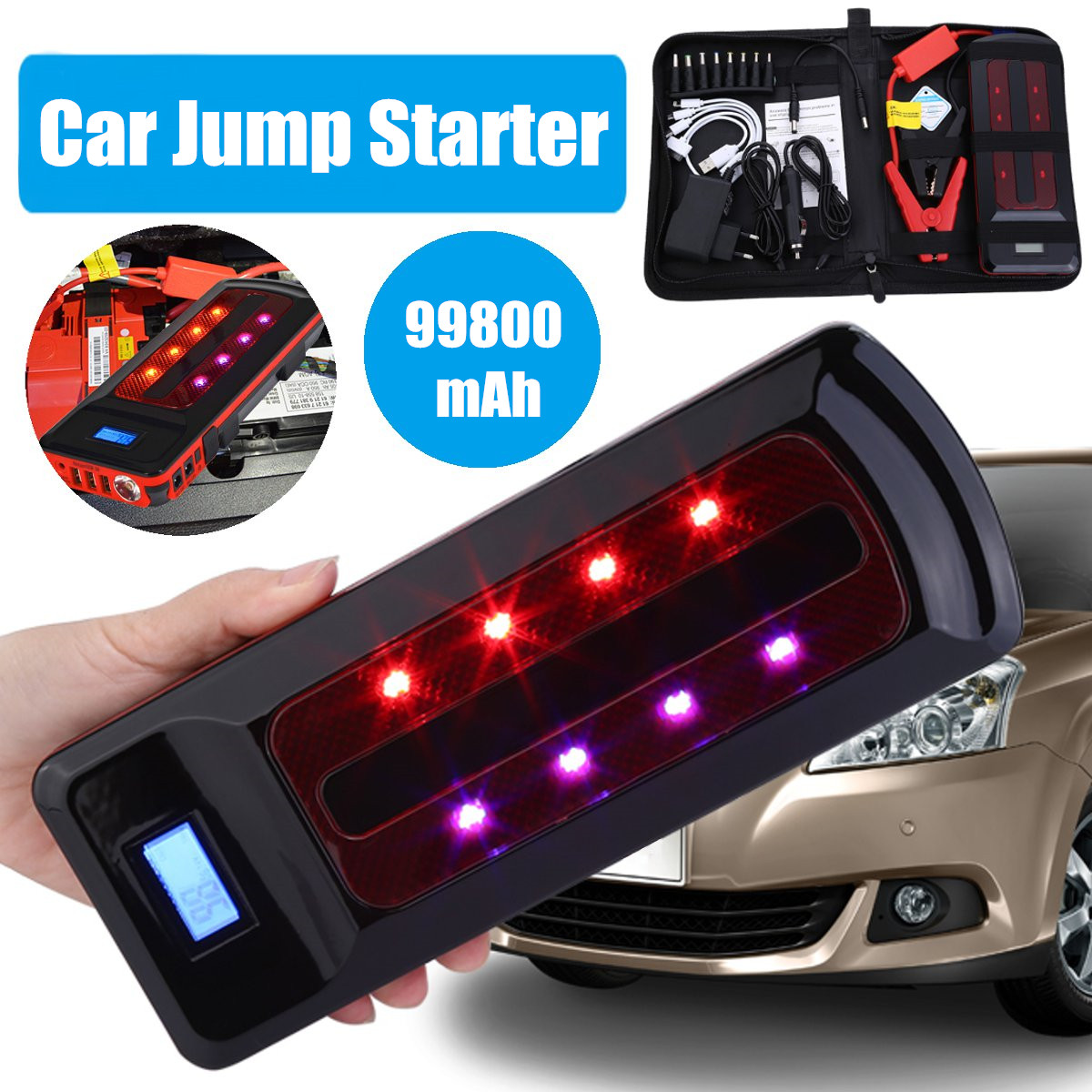 99800mAh 12V Portable Emergency Battery Charger Car Jump Starter Smart Clip Power Bank Starting Light Bar US/UK/AU/EU jump starter car styling uk us eu au 88800mah multi functional car jump starter emergency charger booster power bank battery