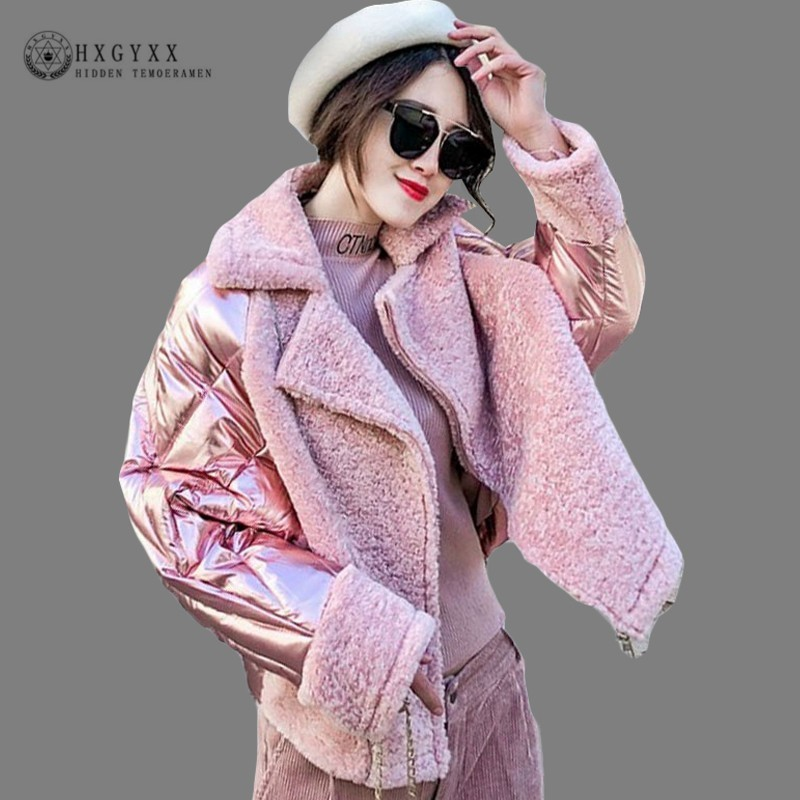 Silver Shiny Faux Wool Fur Patchwork   Parka   Female Quilted Coat Woman Winter Jacket 2018 Korean Slim Warm Short Outwear OKD645