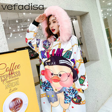 Vefadisa Women Letter Cartoon Printing Sweatshirt Dress 2018 Autumn Women  Fur Collar Hoodie Dress Brushed Dress DQ401 5e2560a325aa