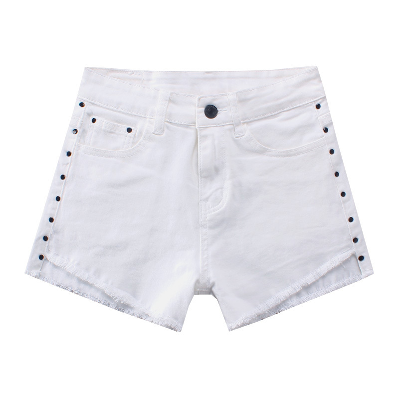 2019 Ripped New Fashion Women White Solid Woman Denim Shorts Girls Casual Pockets Zipper Female Skinny Short Jeans