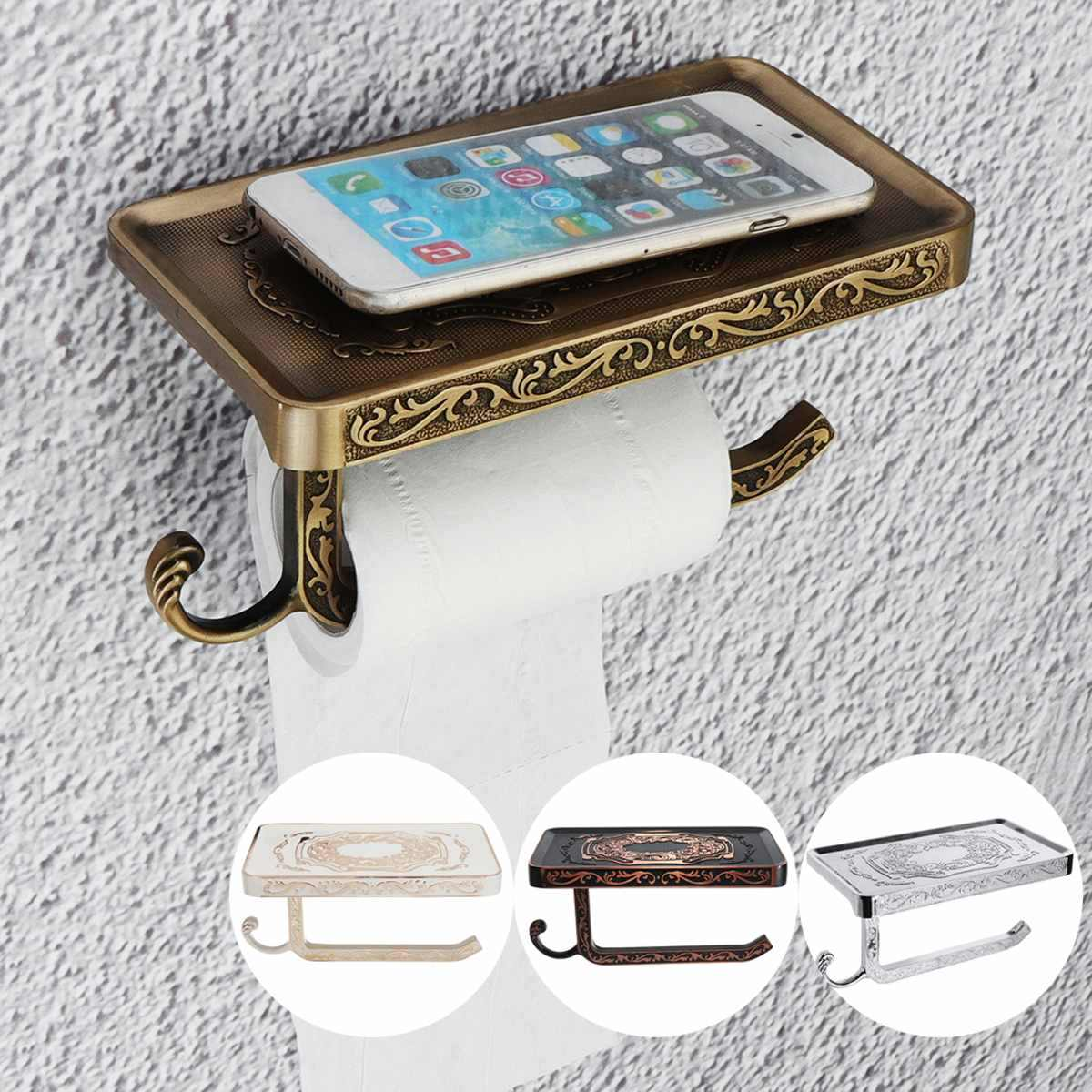 Retro Toilet WC Paper Holder Bathroom Paper Holder Space Aluminum Bathroom Toilet Towel Holder Paper Hook and Phone Holder Mount